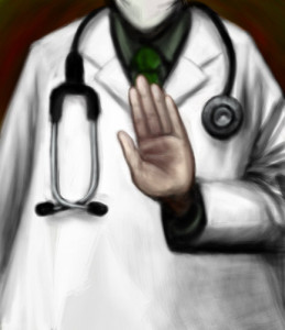 Doctor Holding Up His Hand
